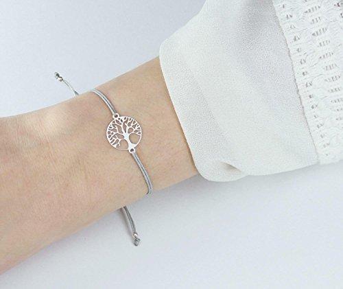 SCHOSCHON Damen Armband Lebensbaum 925 Silber Grau | Ostern Geschenk Baum des Lebens Weltenbaum Freundschaftsarmband Schmuck