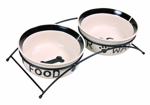 Trixie 24642 Eat-on-Feet Napf-Set, 2 × 1,6 l/ø 20 cm, weiß/schwarz