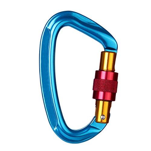 Preisvergleich Produktbild JIAMEIYI Aluminium Locking Kletterhaken,  24KN D-förmiger Karabiner Leichtes Aluminium Anti-Rutsch-Einhand mit Edelstahl Outdoor Schraubverschluss für Klettern Wandern Yoga (Blau-1)