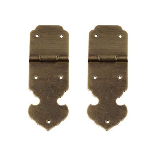 Tiazza 2 Stücke Antike Reine Messing Scharniere Möbel Schubladentür Schmuckschatulle Dekorative Scharnier Hardware (Antike Bronze) - Antik Messing Möbel-hardware