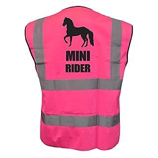 Kids Equine Mini Rider Hi Viz Vis Vest Childs Horse Riding Reflective Waistcoat Jacket Road Safety Equestrian High Visibility Pink 2
