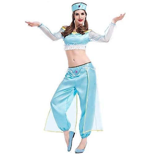 Lovelegis One Size - Prinzessin Jasmin Kostüm - Odalisque Orientalische Tänzerin Bauchtanz - Arabischer Muslim für Frau Erwachsenes Mädchen - Halloween Karneval Cosplay verkleiden - Blaue - Prinzessin Jasmin Kostüm Accessoires