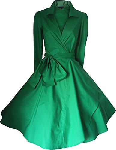 Vintage Années 40 Années 50 Style Rockabilly / Swing / Pin up Drapée Coton Robe Cocktail Soirée TAILLES 4 - 28 UK vendeur-même jour envoi pour commandes mis before 3pm Grand gamme de couleurs Vert émeraude