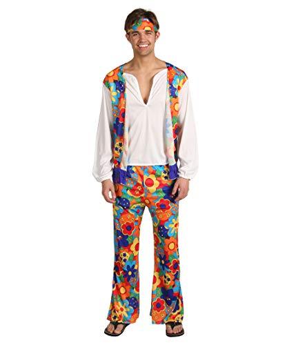 Disfraz de Hippie para adultos (hombre), ropa colorida con flores - Ta