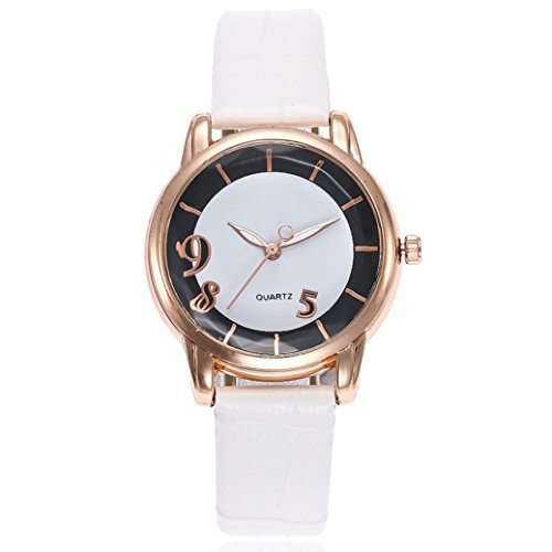 Uhren DELLIN V251 Beiläufige Quarz Lederband Newv Bügel Uhr Analoge Armbanduhr der Frauen (Weiß)