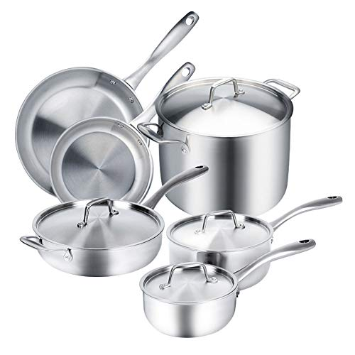 Duxtop Whole-Clad Tri-Ply Stainless Steel Induction Ready Premium Cookware 10-Pc Set by Secura Tri Ply Set