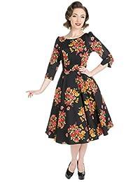 Hearts & Roses BOTANICAL Floral Rosen Vintage Dress / Swing Kleid Rockabilly