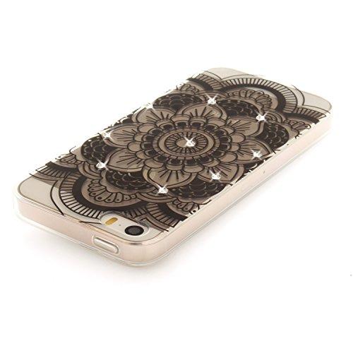 Apple iPhone 5/5S Coque, Voguecase (Diamant bling)TPU avec Absorption de Choc, Etui Silicone Souple Transparent, Légère / Ajustement Parfait Coque Shell Housse Cover pour Apple iPhone 5 5G 5S SE (Dent Dentelle tapis/noir