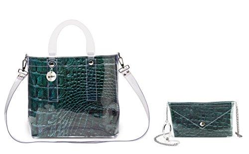 """BI-BAG borsa donna modello DAILY """"ANIMAL COLLECTION"""" Verde Scuro"""