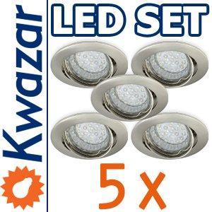 SUPER SET 5er: K-3 Schwenkbares Einbaustrahler + LED Lampe 20p /20W + GU10 Fassung 230V von Kwazar Leuchte