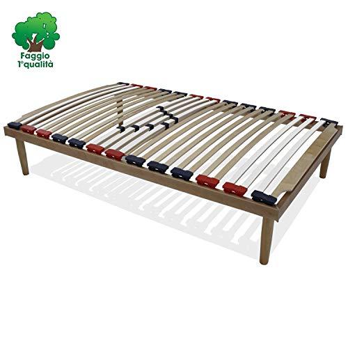 Somnussana - rete piazza e mezza misura 120x190 in legno di faggio con doghe ammortizzate e basculanti e regolatori di rigidità zona lombare