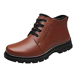Spades & Clubs Mens Genuine Cowhide Leather Casual Fashion Winter Warm High Top Work Short Boot