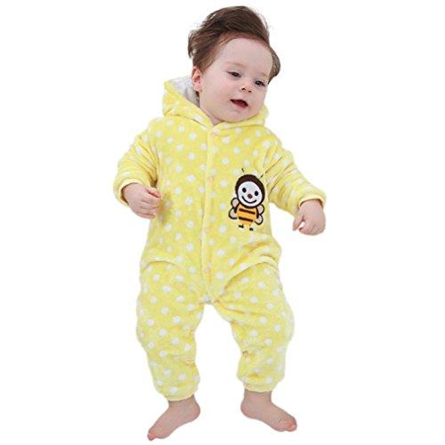 Longra Baby Jungen Mädchen Strampler Winterjacke Cartoon Biene Affe Samt Baby Strampelanzug mit Kapuze Jumpsuit Kapuzenpullover Overall Baby Unisex Kleidung (80CM 9Monate, Yellow) (Niedliche Affe Kostüm)