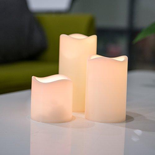 3er led kerze flammenlose für Innen und Außen, Batteriebetrieben LED Farbwechsel Kerzen mit Fernbedienung & Timer
