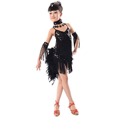 Tanz Feder Kostüm Rock - KINDOYO Mädchen Pailletten Feder Quaste Latin Ballroom Salsa Tanzkleid Rock Tango Dance Performance Kostüm, Schwarz, EU 130=Tag140CM