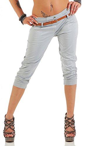 Danaest Damen Capri Hose inkl. Gürtel (624), Farbe:Hell Grau, Grösse:XS/34