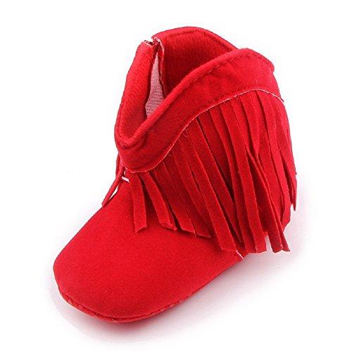 Auxma Für Baby 0-18 Monate,Babyschuhe Stiefel Weiche Sohle Schuhe prewalker (0-6 M, Braun) Rot