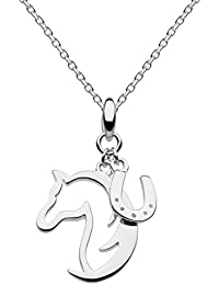 Dew Sterling Silver Hoofing Around Horse and Horseshoe Necklace 45.7 cm