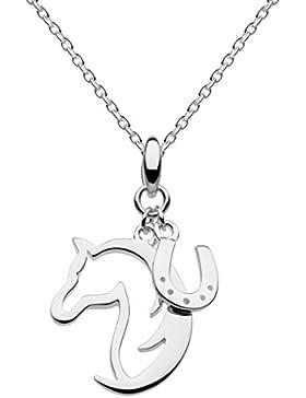 Dew 9474HP Halskette aus Sterling-Silber, mit Anhänger Hufeisen und Pferd, Länge der Kette 45,7 cm