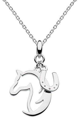 Dew 9474HP - Collana con ciondolo a forma di testa e ferro di cavallo, argento Sterling, 45,7 cm