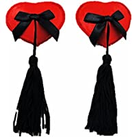 super sexy nipple tassels red satin with black bow burlesque dancer