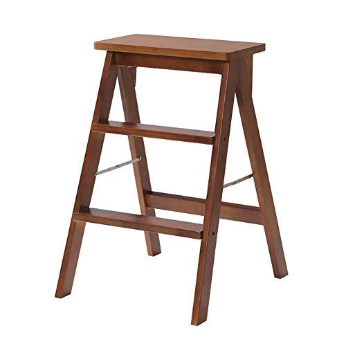 STOOLLZX Klappbarer Trittleiter aus Holz Klappbarer Trittleiter aus massivem Holz Tragbarer Klappstuhl - Multifunktions-Küchenhochstuhl Sitzbank Trittleiter (Color : Brown) - Küche Kiefer Sitzbank