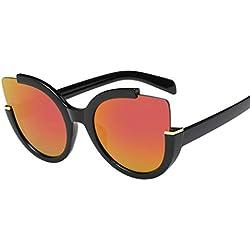 OverDose Unisex Vintage Classic Metallrahmen Sonnenbrille Katzenaugen Brille Reflektierenden Spiegel (A-Orange)