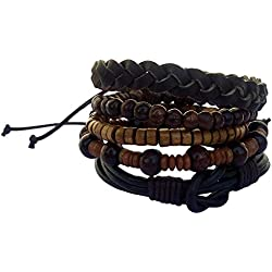 Itos365 Multicolor Leather Chatm Bracelet For Men