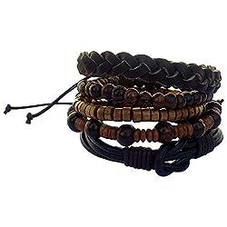 Itos365 Multicolor Leather Chatm Bracelet For Men