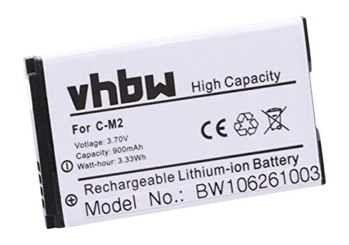 vhbw Li-Ion Akku 900mAh (3.7V) für Handy, Smartphone, Telefon BlackBerry 8100c, 8100, 8100r, 8110, 8120, 8130, 8130B, 8220 wie C-M2, BAT-11004-001. 8100 Smartphone