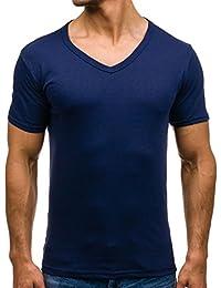 BOLF Herren T-Shirt Tee Kurzarm Classic V-Neck Rundhals Unifarben 3C3 Slim Fit
