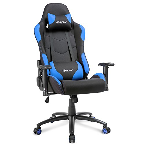 Merax Gamingstuhl Racing Stuhl Computergaming Chair Sportsitz Drehstuhl Schreibtischstuhl aus Elastische Stoff+Kissen/Armlehnen einstellbar Höheverstellbar Belastbar bis 150kg (Blau)