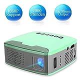 Tonysa Proiettore Portatile, Videoproiettore a LED 13ANSI Lumens con Supporto per Vetro Ottico di Regolazione Proiettore multimediale per proiettore Mini 1080P Ideale per i Giochi di Home (110-240V)