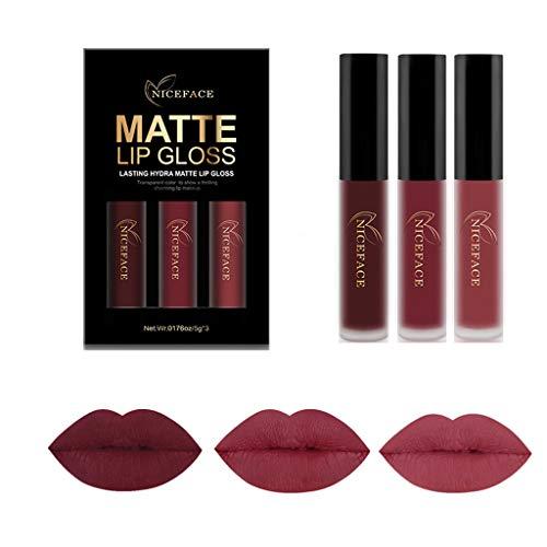 Damen Lipgloss-Set, SHOBDW 3 STÜCKE / 6 STÜCKE wasserdichte Matte Flüssigen Lippenstift Kosmetische Sexy Lipgloss Kit (3 STÜCK-I) -