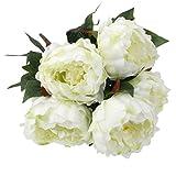 Mazzo Fiori Artificiali Bouquet Peonia In Seta Decorazioni Sposa Matrimonio Casa, Verde Chiaro