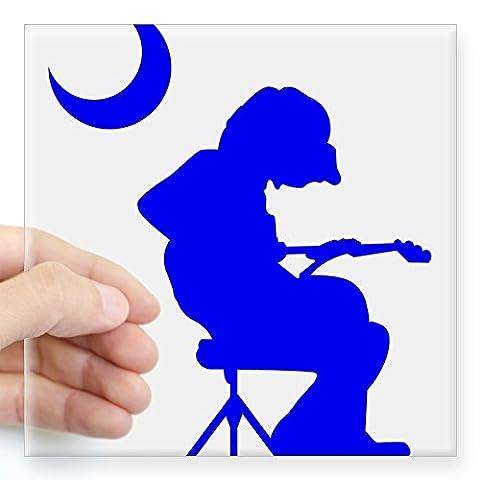 CafePress - Palmetto Moon Flag Mikey Houser Guitar Player Stic - Square Bumper Sticker Car Decal, 3
