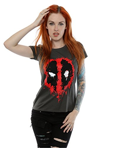 Marvel Damen Deadpool Splat Face T-Shirt (Lizenziertes Tee Marvel T-shirt)