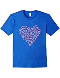 Pink Paws Heart Animal Pets Lover T-Shirt For Women