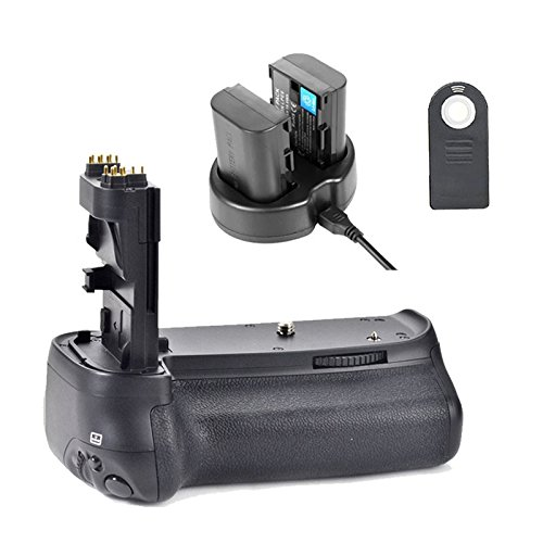 Grip EACHSHOT Pro Battery Grip Kit mano Funziona con 6pcs batteria AA o LP-E6 per Canon EOS 80D + 2PCS LP-E6 Battery + Dual Charger + IR
