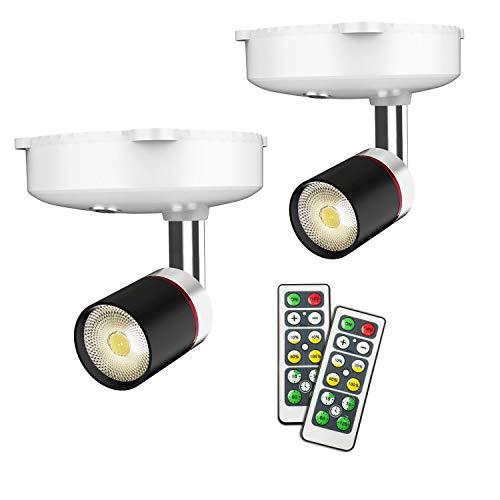 Foco de pared para interior, lámpara LED con pilas, 4 niveles de intensidad, temporizador 4000 K, blanco...
