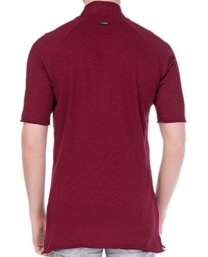 Red Bridge Herren Button Down Oversized T-Shirt Bordeaux Bordeaux