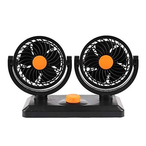 Pzhhzpingg Doppellüfter 12 Volt Ventilator,2 Geschwindigkeiten Einstellbar Auto Lüfter 360 Grad Manuelle Drehung Dual Head Car Cooling Oszillierendes Armaturenbrett Belüftungsventilator (Orange) -