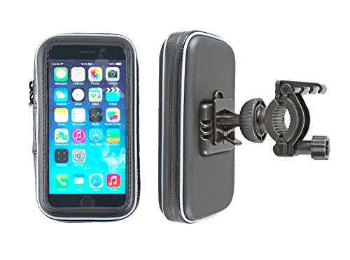 smart2Bike® Fahrradhalterung / Motorrad-Halterung mit Schutz-Tasche für Smartphone, Navigator, Handy, uvm. - Display-Diagonale Universal: bis 4,7