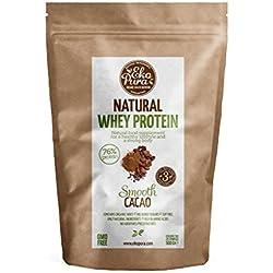 Natural Whey Protein - Cacao - 76% de Protéines - Protéine de Lactosérum Bio - Sans Additifs - 500g