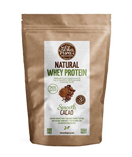 Natural Whey Protein - Smooth Cacao - 76% Protein - Bio Whey Protein aus glücklichem Gras gefütterte Kühe - Frei von Additiven - 500g (Gras Gefüttert Whey Protein)
