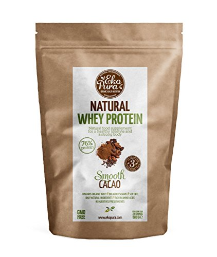 Natural Whey Protein - Smooth Cacao - 76{0e44cd62e17ebc9240f16cafdda9bfee972b7691bad0e08725f941826a3e43e4} Protein - Bio Whey Protein aus glücklichem Gras gefütterte Kühe - Frei von Additiven - 500g