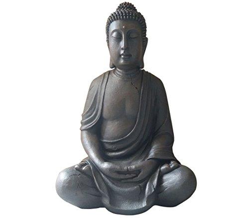 Dehner Buddhafigur sitzend, ca. 100 x 70 x 51 cm, Polyresin, grau