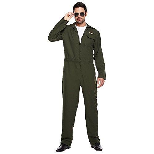 Herren Grün Aviator Flieger-Anzug Overall Kampfflieger Kostüm Kleid Outfit STD & XL - Grün, One Size