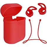 WorCord Silicona AirPods Prueba de Golpes Carcasa + AirPods Correa para el Cuello de Silicona + AirPods Auriculares Suave Gancho Boca para Apple Airpods - Rojo