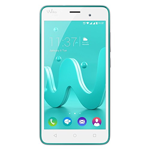 Wiko Jerry Smartphone (12,7 cm (5 Zoll) Display, 16 GB interner Speicher und 1 GB RAM, Android 6 Marshmallow) türkis-silber